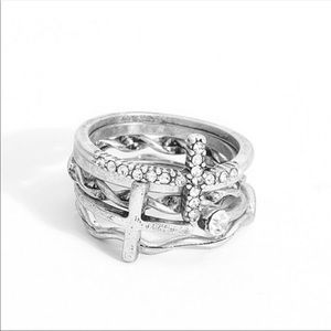 Jewelry - Sterling Plated Stackable 5 Piece Set Cross Rings